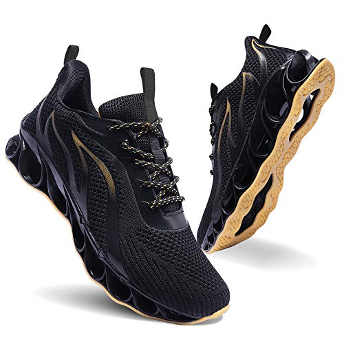 MOSHA BELLE Men Athletic Running Shoes Black Yellow Mesh Blade Gym Walking Sneakers 10
