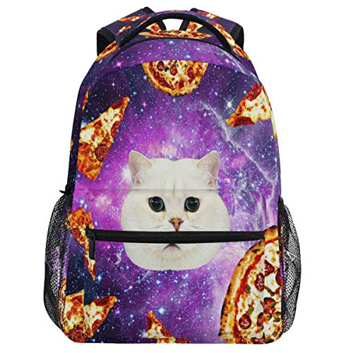 Oarencol Pizza Cat Galaxy Mochila divertida animal púrpura espacio Librería mochila viaje senderismo camping escuela portátil