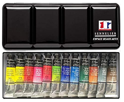 Sennelier Acuarelas Extra-Fines .Set 12 x 10 ml Tubos, Caja de Metal.con Pincel y Mancha, Made in France (France Import)