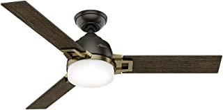 Hunter Indoor Ceiling Fan with LED Light and remote control - Leoni 48 inch, Nobel Bronze, 59220