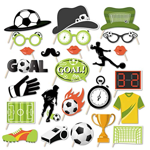 Kristin Paradise 25Pcs Soccer Photo Booth Props with Stick, Theme Selfie Props, Birthday Party Supplies, Photography Backdrop Decorations