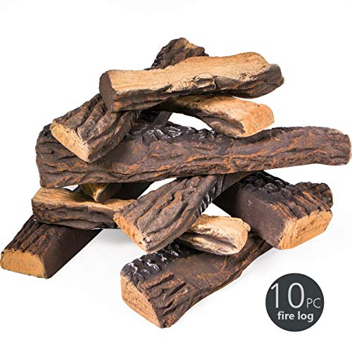 Barton Fireplace Decoration 10 Piece of Petite Ceramic Wood Fireplace Log Gas Vented Insert Realistic Logs Accessories