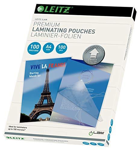 Leitz 74800000 Pochettes de plastification, Matériau Épais de 100 Microns (Transparent, Brillant, A4) - Pack de 100