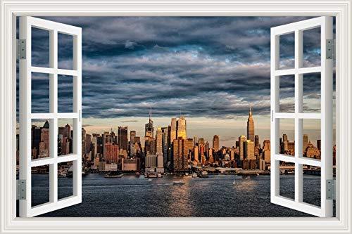 Ventana 3D Paisaje Ciudad moderna Edificio emblemático Salida del sol puesta de sol Etiqueta de la pared Calcomanía de PVC Sala de estar Dormitorio Oficina Decoración Mural Cartel