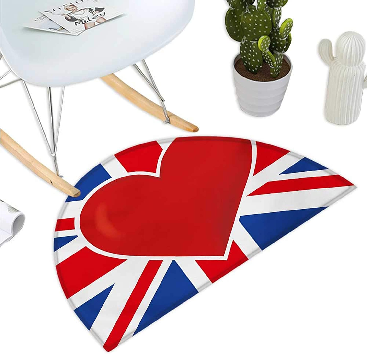 Union Jack Semicircular Cushion British Flag with a Big Red Heart in Center Nationality Pride Concept Entry Door Mat H 39.3  xD 59  Royal bluee Red White