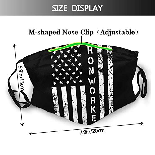 Ironworker America Flag Unisex Reuseable Dustproof Mouth Cover with Adjustable Elastic Strap and Filter