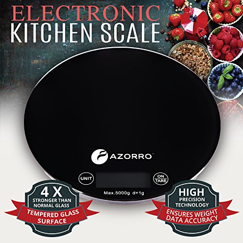 Kitchen Digital Food Scale by Azorro - Premium Electronic High Accuracy 11lb/5kg Perfect for Weighing & Portion Control All Liquid & Dry Ingredients - Very Strong Tempered Glass - Large LCD Display