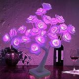 Rose Lamp for Girl, Cute Home Room Decor Purple 20LEDs Flower Rose Tree Light Gift for Women Teens Girls Table Lamp for Party Wedding Christmas Indoor (Battery Powered) (Purple)