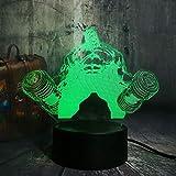 Mancuerna Gigante Ilusión 3D Led Luz De La Noche Escritorio De La Tabla 7 De La Lámpara Del Arte Del Color De La Lámpara Táctil Escultura Enciende El Regalo De Cumpleaños