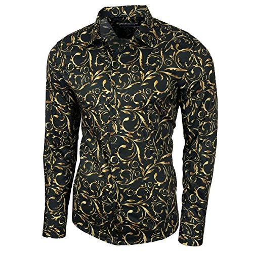 Blumen Hemden Herren Bunte Hemd Langarmhemd Muster Freizeitshemd Langarm Casual Mehrfarbig Shirt, Größe:XL, Farbe:Schwarz_127