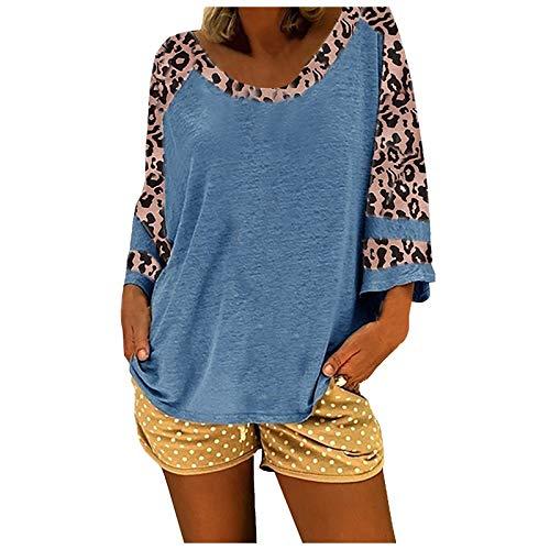 YANFANG Camiseta de Manga Corta con Estampado de Leopardo para Mujer de Moda de Primavera y Verano,Tops de Túnica de Mujer Camiseta,, 3XL,Blue