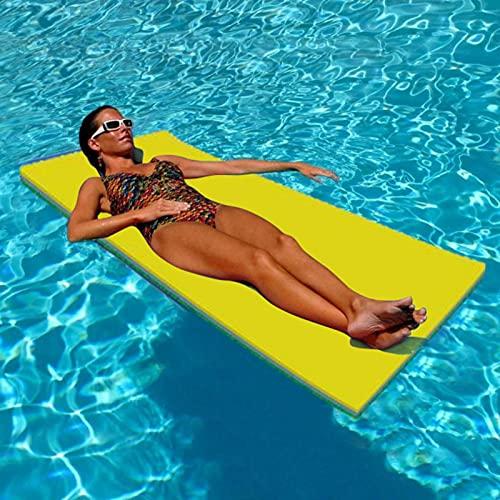 Colchoneta flotante de espuma de agua duradera, flotante para el agua, resistente al desgarro, isla de flotación para piscina, recuperación y relajación, color amarillo