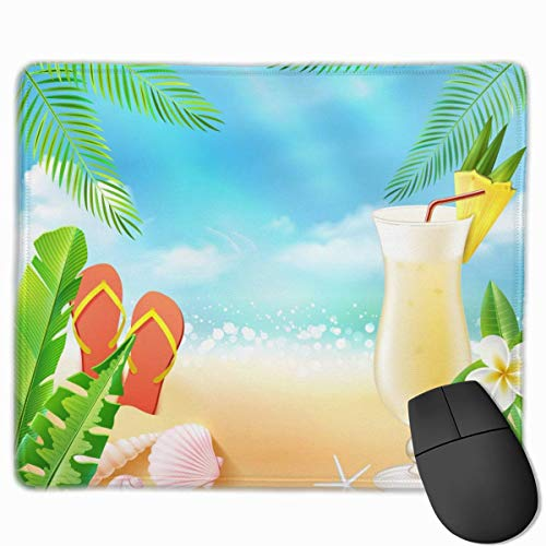 Tropische Blätter Sea Drink Flip Flop Rutschfeste Einzigartige Designs Gaming Mouse Pad Schwarzes Stoff Rechteck Mousepad Art Naturkautschuk Mausmatte mit genähten Kanten