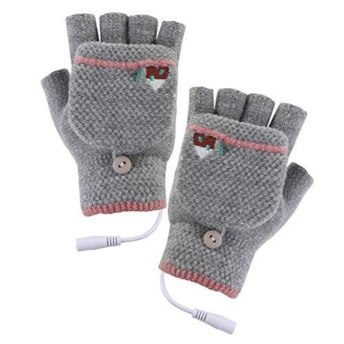 Guantes calefactores USB para mujeres y hombres, guantes calentados recargables, guantes calientes para ordenador portátil, guantes de calentamiento sin dedos con calefacción completa y medio
