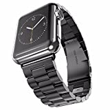 U191U Band Compatible with Apple Watch 42mm Stainless Steel Wristband Metal Buckle Clasp iWatch Strap Replacement Bracelet for Apple Watch Series 3/2/1 Sports Edition (Black, 42MM) (Renewed)