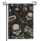 VVGETE Fahne Willkommen Rockstar \U0026 Skull Begrüßung Nicht Verblasst Haus Ferienzeit 30X45Cm Haus Flagge Hof Banner Garten Flagge Im Freien Schöne Dekorative Bunte Standard