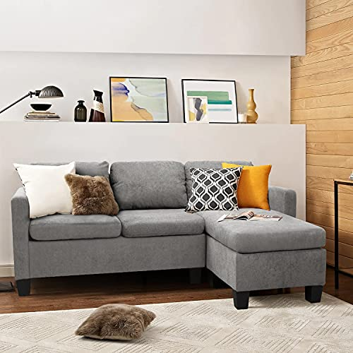 GUNJI Convertible Sectional Sofa Couch Modern L-Shaped Couch for Small Spaces 3-Seat Sectional Couch...