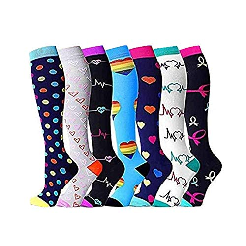 Crazyfly Compression Socks for Women Men Circulation Compression Socks 20 30 mmHg for Running Sport Nurse Travel Edema