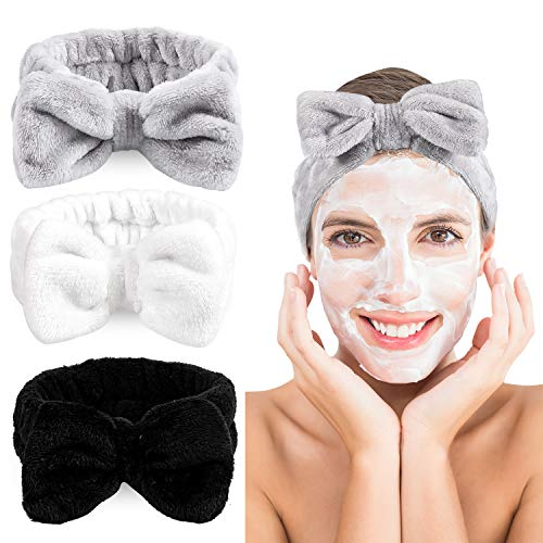 Whaline 3 Pack Spa Headband Bowknot Hair Band Coral Fleece Facial Makeup Headband Elastic Head Wrap for Washing Face Shower Sports Beauty Skincare (White, Gray, Black)