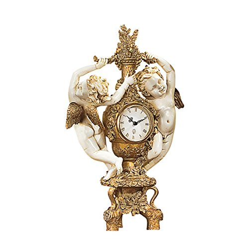 Design Toscano PD2011 chérubins Horloge de la fête de récolte Ivoire 12,5 x 53,5 x 42 cm