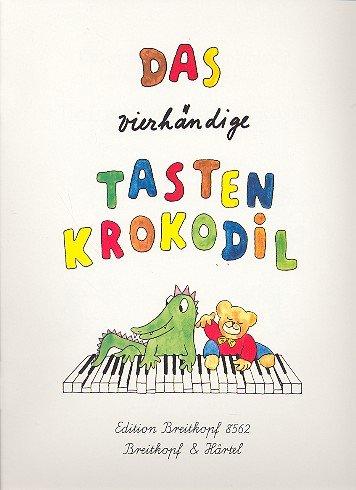 Das vierhändige Tastenkrokodil - Leichte Klavierstücke zu vier Händen für Kinder - mit farbigen Zeichnungen von Martina Schneider - Noten/sheet music