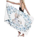 Toalla de baño grande, Bluebell Cottage Art, pintado a mano con colores de agua, purpurina, casa, campanillas, hadas, búhos mágicos, pájaros, flores, toalla de playa de secado rápido, toallas absorben