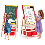 GYMAX. Childrens Easel, Wooden Chalkboard Painting Board with Paper Roller, Storage Bags, Magnetic