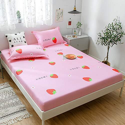 huyiming Verwendet für Einzelstück Baumwolle Baumwolle Bettdecke rutschfeste Bettdecke Simmons Schutzhülle 1.51.8 Matratze Set rosa Erdbeere 180 * 200 * 30