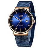LIGE Relojes para Hombre Moda Reloj de Cuarzo analógico Simple Hombres Caballero Azul Ultra Delgado Reloj Impermeable Reloj Minimalista de Acero Inoxidable Dorado