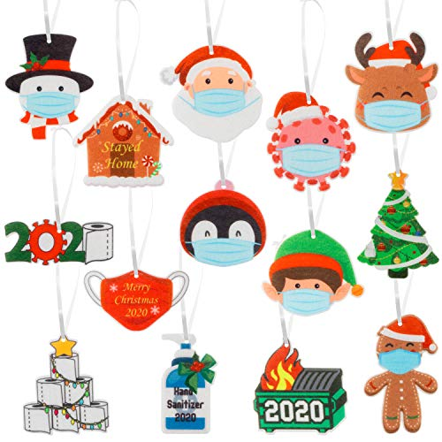 WATINC 28pcs 2020 Christmas Felt Ornament Kit for Quarantine Survivor Personalized, Classic Styles of Christmas Theme Patterns with Toilet Paper, Xmas Party Tree Pendant Decoration for Kids and Adults