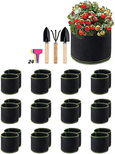 Future Way 1 Gallon Fabric Pots, 24 Packs Grow Bags with Planting Tools and Labels, Durable Non-woven Cloth Grow Pots for plants, Vegetables, Fruits, and Flowers