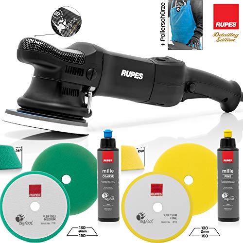 detailmate professionelles Rupes Poliermaschinen Set - LHR15ES Detailer Poliermaschine + 1 Medium Cut Pad + 1 Fine Cut Pad + Grobkörnige Politur 250ml + Feine Politur 250ml + Mikrofaserschürze