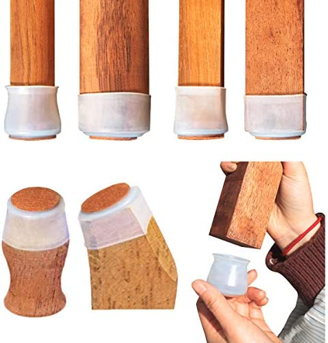 40Pcs Chair Leg Covers Furniture Feet Caps with Felt Pads Wood Floor Protectors Silicone Furniture product image