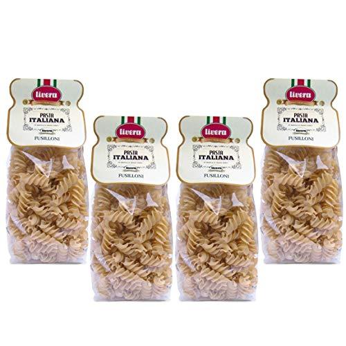 Livera Fusilloni 4 x 500Gr, Riesige Kurze Pasta aus Hartweizengrieß 100% Made in Italy, Riesige Fusilli, Italienische Exzellenz, Hochwertige Getrocknete Handwerkliche Pasta, Kochen 10'