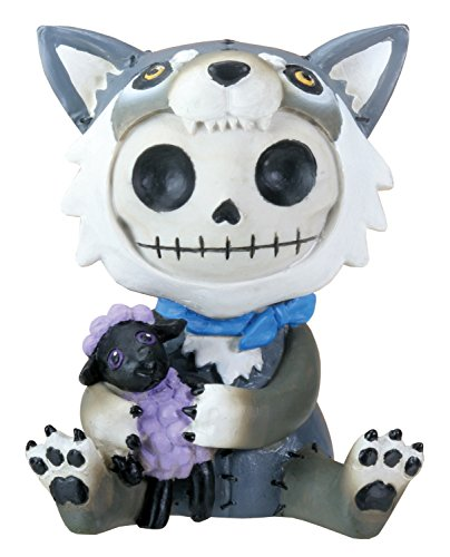 SUMMIT COLLECTION Furrybones Wolfgang Signature Skeleton in Wolf Costume Holding onto a Purple Sheep