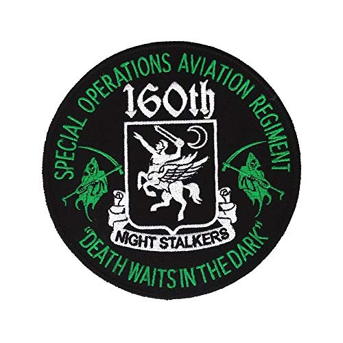 """160th S.O.A.R. Patch - Night Stalkers - Death Waits in The Night - 5"""" Embroidered Patch with Wax Backing and merrowed Edge - Special Operations Aviation Regiment - Special Forces - Special Operations"""