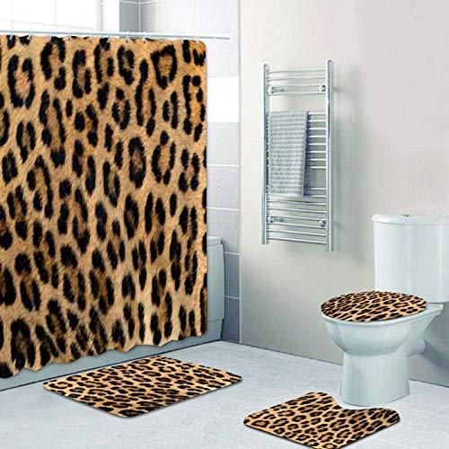 AIDEMEI Girly Ribbon Leopard Print Duschvorhang Und Badteppiche Set Moderne Cheetah Leopard Badvorhänge Für Badezimmer Home Decor 180X180Cm
