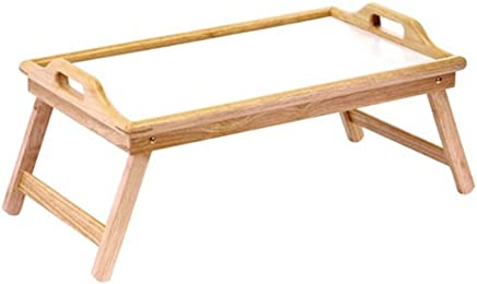 Home & Loft Bamboo/White Folding Breakfast In Bed Tray With Handles   BT2100