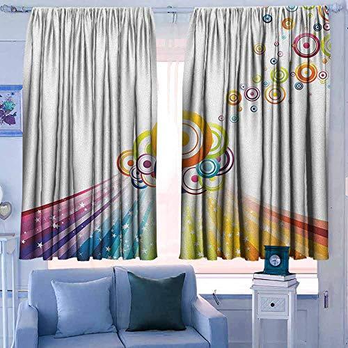 Lovii gordijnen voor slaapkamer Isolerende kamer Darkening Blackout Drapes Vintage Regenboog Vogels op een kleurrijke hek op geruite vierkanten Gingham patroon achtergrond Multi kleuren