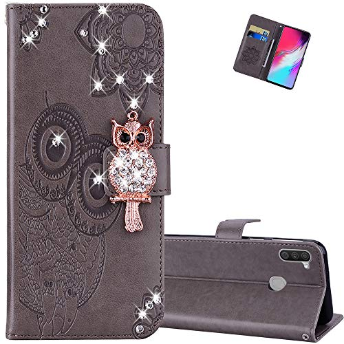 EMAXELER Samsung Galaxy A11 Case Premium PU Leather Flip Wallet Case Owl Embossing Diamond Full Body Protection Flip Stand Card Holder Magnetic Cover for Galaxy A11 Owl Gray YK