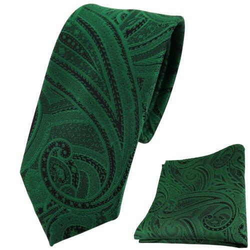 TigerTie schmale Designer Krawatte + Einstecktuch in grün smaragdgrün schwarz Paisley