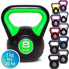 Idea Regalo - C.P. Sports - Set di pesi con maniglia, kettlebell in vinile, da ginnastica, da 2 kg, 3 kg, 4 kg, 5 kg, 6 kg, 8 kg, 10 kg, 12 kg, 14 kg, 16 kg, 18 kg, 20 kg, 3 KG