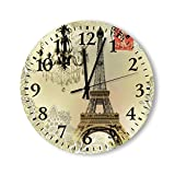 Round Wood Wall Clock Home Decor,Beige Floral Lace Chandelier Paris Eiffel Tower Round Clock Pattern Wood Wall Clock, Battery Operated, no ticking sound, for home, the Kitchen, Living Room, Bedroom, R