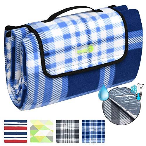 Beautissu BellaPa XXL Picknickdecke wasserdicht 200x200 cm Ultraleicht Campingdecke wasserabweisend und isoliert blau-weiß Oeko-Tex Zerifikat