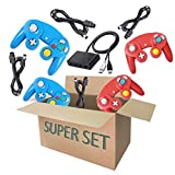 4 Controller for Gamecube, with 4 Extension Cords and a 4-Port Gamecube Adapter for Wii U/Switch/PC - Red & Blue