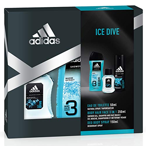 adidas Duftset Ice Dive Eau de Toilette 50 ml + Showergel 250 ml + Voucher, 300 ml