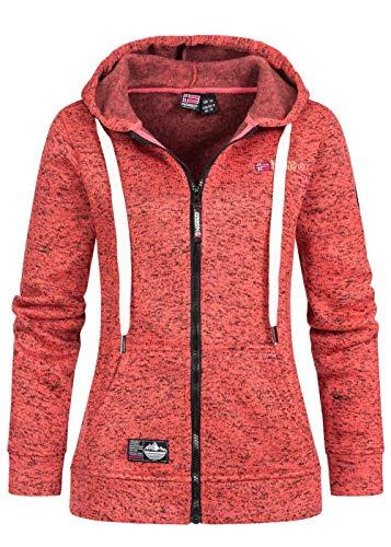 Geographical Norway Sudadera con capucha para mujer con cremallera y cordón de estilo canguro, bolsillos y emblemas Corail XXL