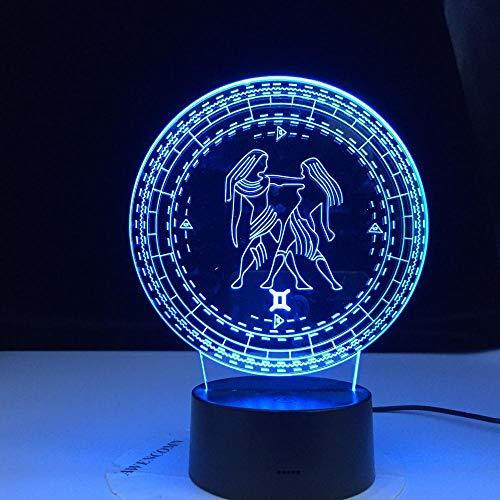 Lámpara De Ilusión 3D Led Night Light Gemini Doce Constellation Kids Sensor Táctil Colorido Para Decoración Del Hogar Luz Regalo De Cumpleaños