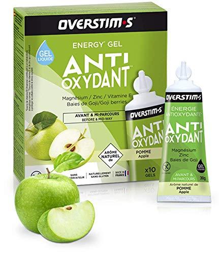 OVERSTIM.s - Gel Antioxidante (10 Geles) - Manzana Verde - Gel Energético Antioxidante Con Magnesio 300 g