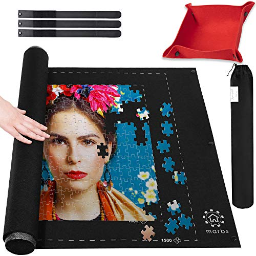"Marbs Puzzle Mat Roll Up with Guiding Lines for 500,1000,1500 Pieces. Roll Your Jigsaw Puzzle in 30sec - Portable Storage Mat 24""x46"" with 2 Foam Poles, 3 Fastening Straps, Sorting Tray & Storage Bag"